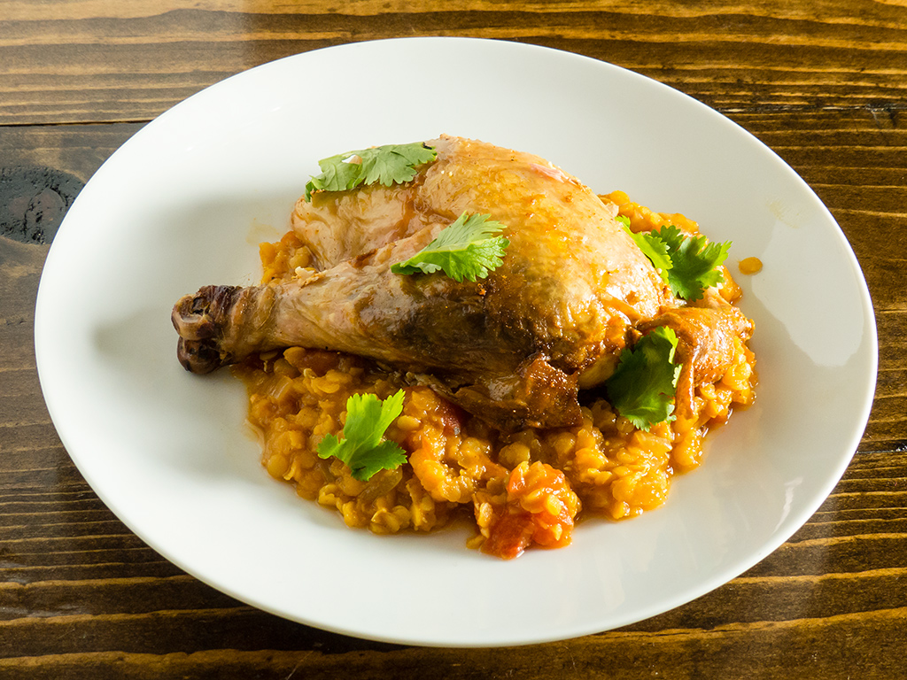 Berbere roast chicken with Misr Wat, an Ethiopian lentil dish.