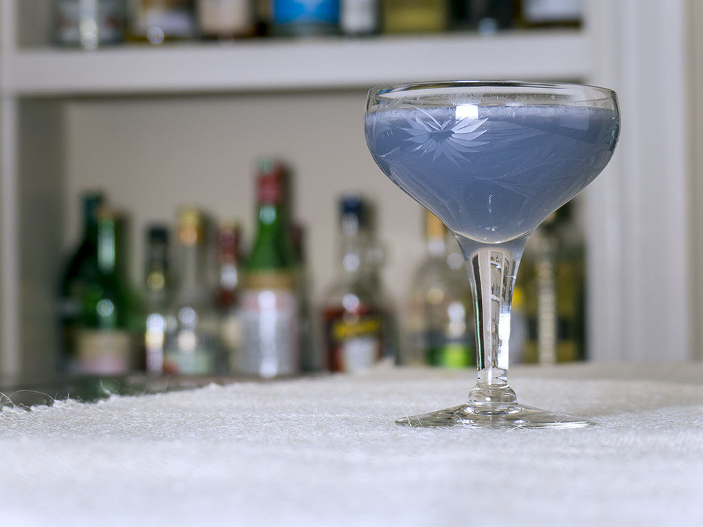 The creme de violette makes this cocktail a lovely purple color