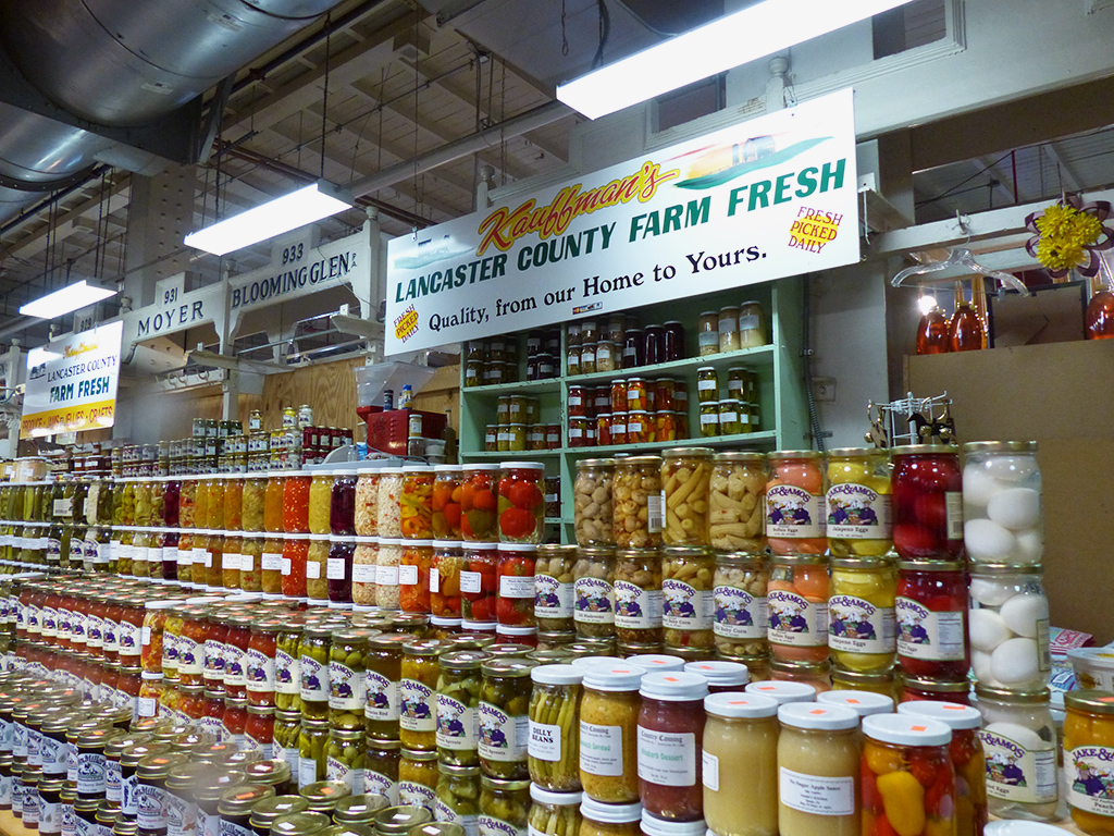 Canned goods on display at the Kauffman stall in the Market