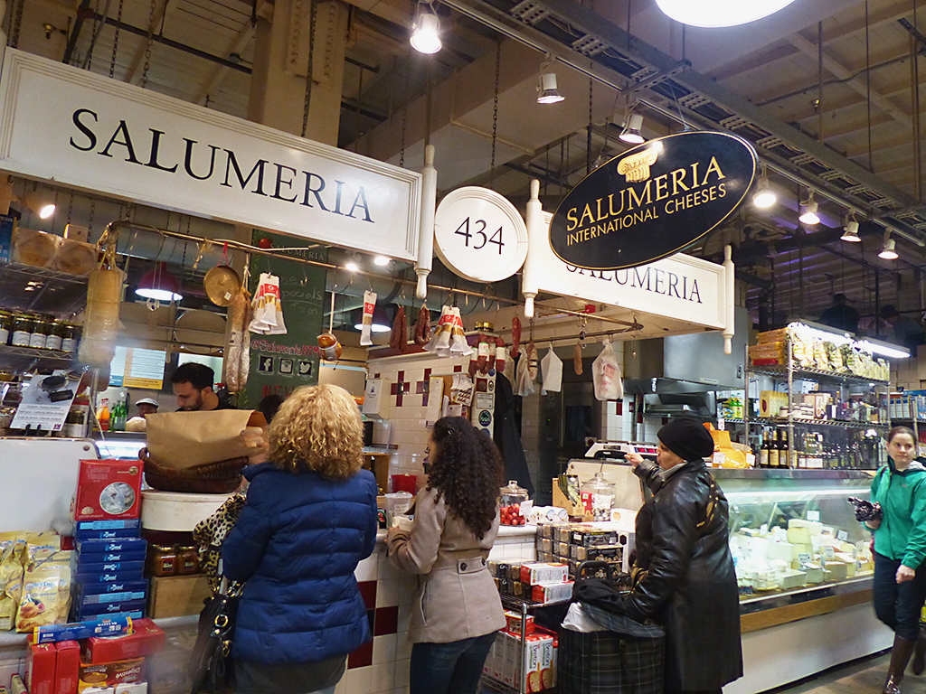 Customers at the Salumeria counter